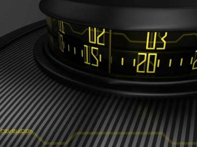 Sam Jerichow Revelation Watch design for Tokyoflash, yellow dial showing the time