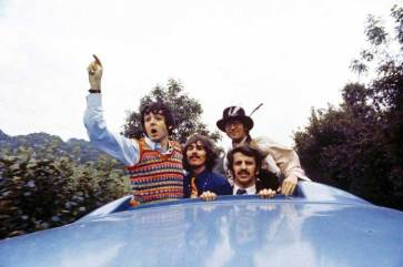 Magical Mystery Tour, The Beatles, John, Paul, George and Ringo atop the bus