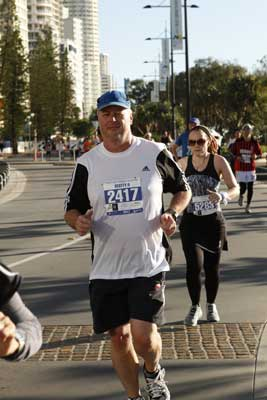 Scott running the Gold Coast Marathon, 2012