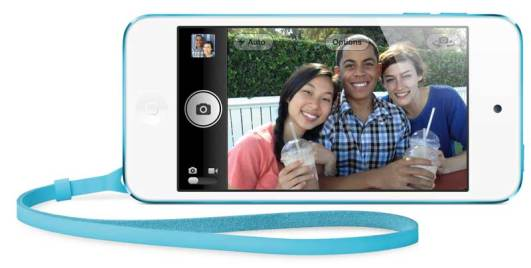 iPod touch 2012 model, 4th Generation, blue side-on view