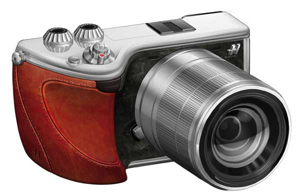 Hasselblad Lunar mirrorless camera, front, with leather grip