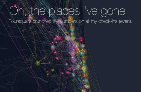Foursquare Time Machine map