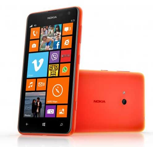 Nokia Lumia 625 smartphone, front and side views