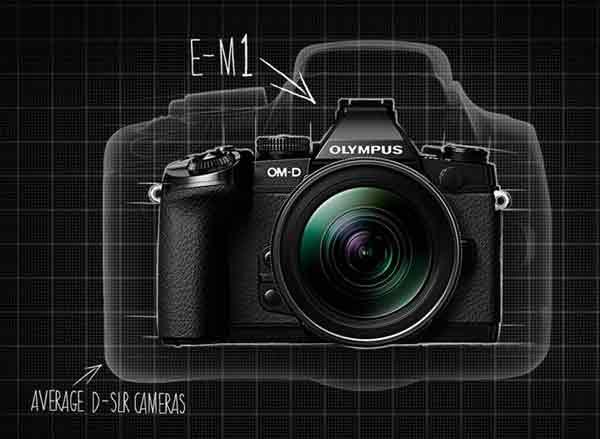 Olympus OM-D E-M1 DSLR size comparison