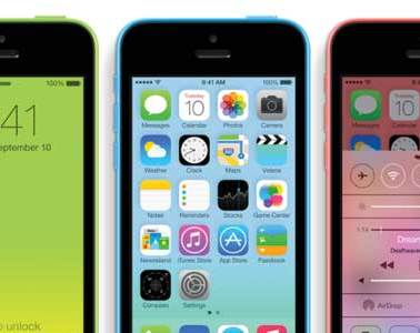 iPhone 5c green, blue, and red - closeups
