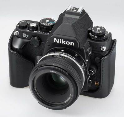 Nikon Df DSLR camera, front right angle view