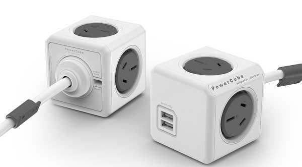 Allocacoc's PowerCube, the world's smallest 4-?5 multi socket powerboard.
