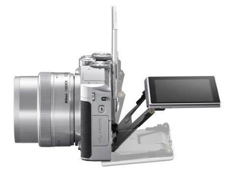 Nikon 1 J5 mirrorless camera black, side view
