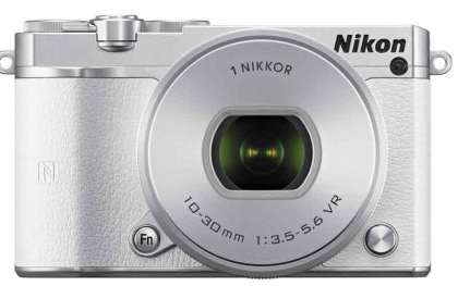 Nikon 1 J5 mirrorless camera white, front view
