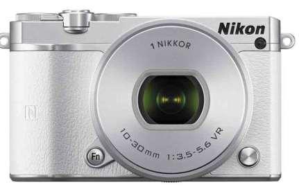 Nikon 1 J5 mirrorless camera white, front view