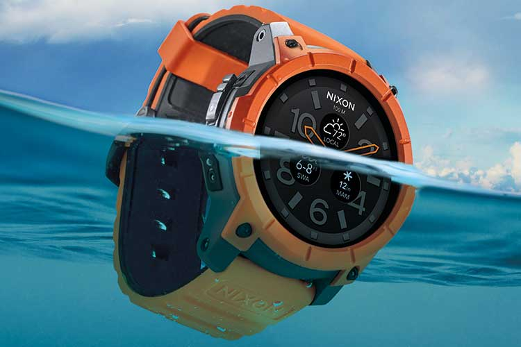 Nixon Mission smartwatch half-submerged