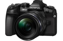 Olympus OM-D E-M1 Mark II front angle view, with lens