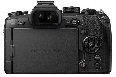 Olympus OM-D E-M1 Mark II rear view, LCD screen closed