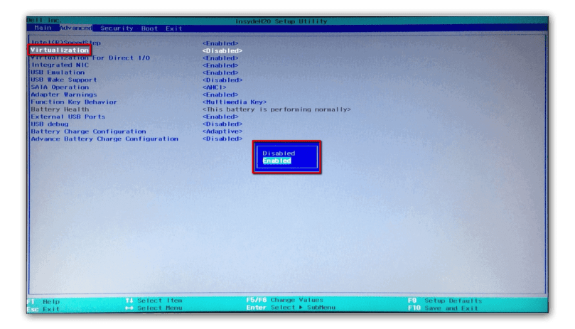 Enable VT-X in BIOS