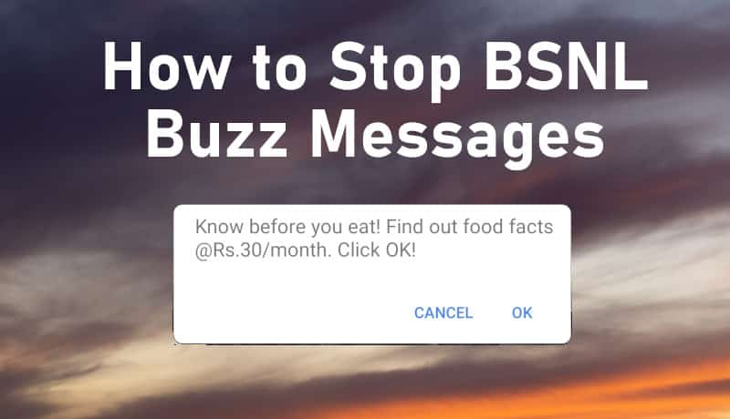 stop bsnl buzz messages