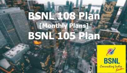 BSNL 105 & 108 Plans