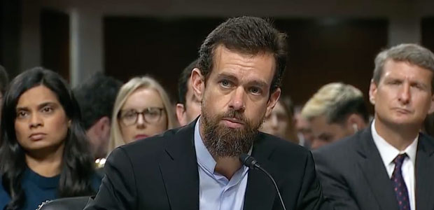 Twitter Cofounder Jack Dorsey testifies before The Senate Intelligence Committee in a hearing on foreign influence operations and their use of social media platforms on Sept. 5, 2018.