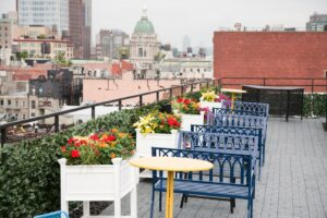 Bowery Roof Benches & Flower Boxes