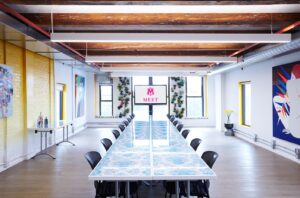 MEET on Bowery Board Room style set up