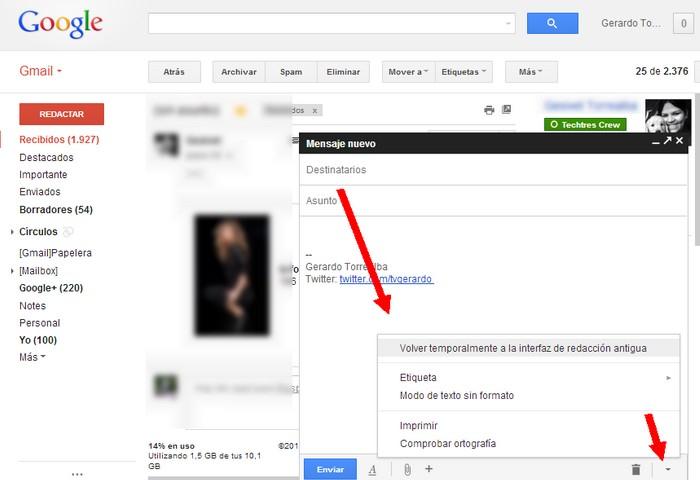 gmail interfaz redaccion