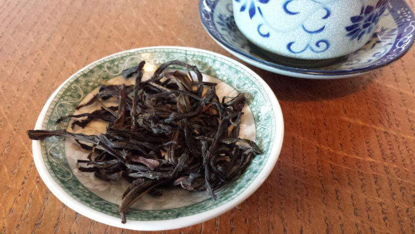 Twisted leaves of Yellow Sprig (Huang Zhi Xiang) Dan Cong wulong tea from SevenCups.com