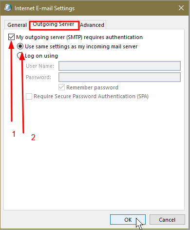 shows Gmail settings in Outlook 2016