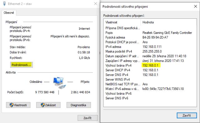 Zjištění IP adresy