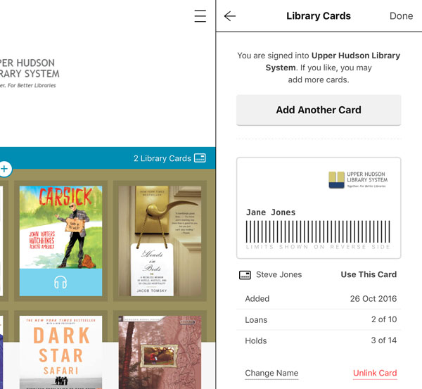 Add library card screenshot