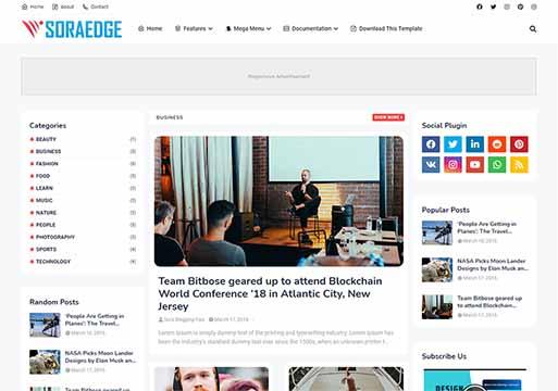 Soraedge Professional Responsive Blogger Template 2021 Free Download