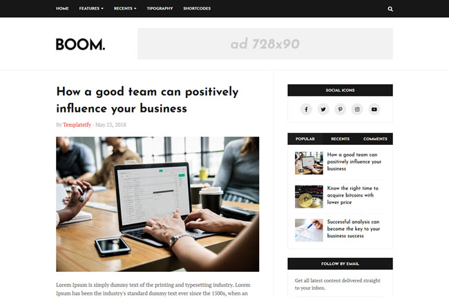 Boom Blogger Template Free Download