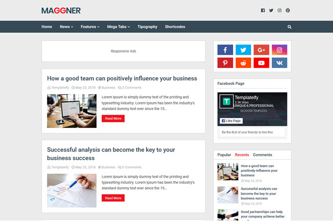 New Maggner Blogger Template Free Download