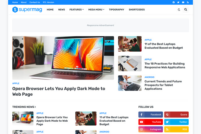 SuperMag - Responsive Magazine Blogger Template Free Download
