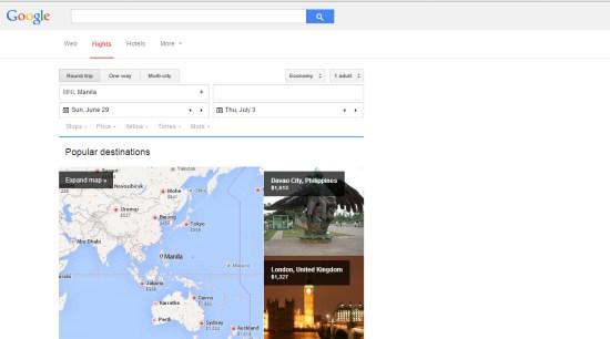 Google Flights Interface