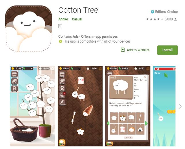 A screenshot from the game Cotton Tree, photo of 2-dimensional cottons growing and evolving, one of the editors choice games