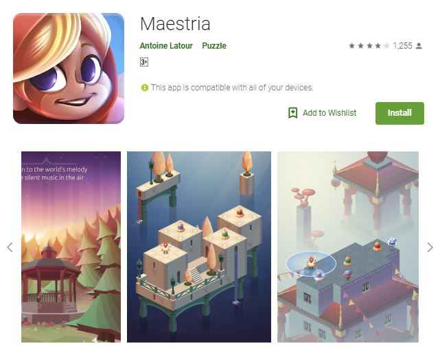 An screenshot of the game Maestria, a colorful image of the game's landscape, one of the editors choice games