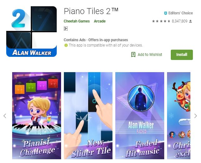 A screenshot image of the game Piano Tiles 2, a purple colored theme photo of the game modes, one of the editors choice games