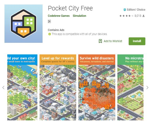 An image of a screenshot from the game Pocket City Free, a collage image of the game features, one of the editors choice games