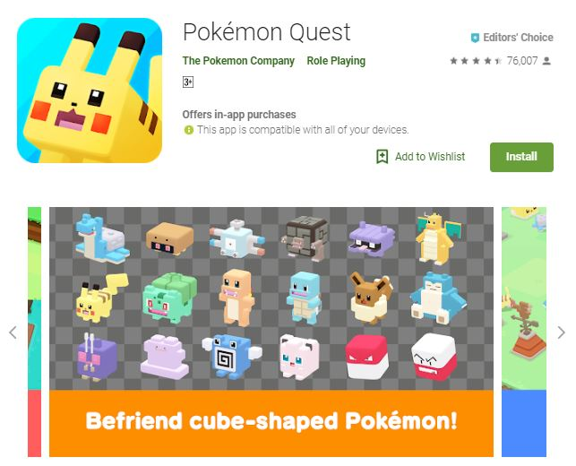 An image of a screenshot from the game Pokemon Quest, cute, cube-shaped Pokemons, one of the editors choice games
