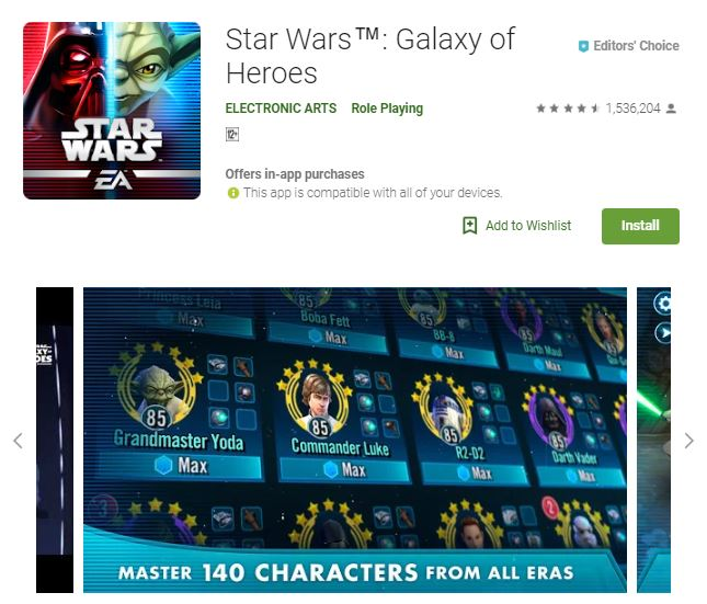 An screenshot image of the game Star Wars: Galaxy of Heroes, an image that shows playable characters of the game, one of the editors choice games
