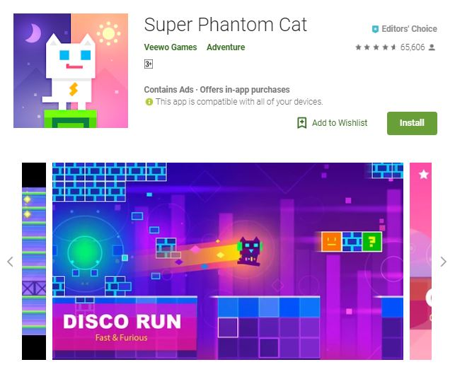 An image of a screenshot of Super Phantom Cat game, image of a white and purple cat with colorful background, one of the editors choice games