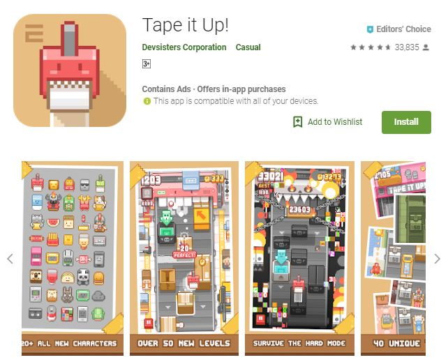 A screenshot image of the game Tape it Up! Colorful, pixilated characters, one of the editors choice games