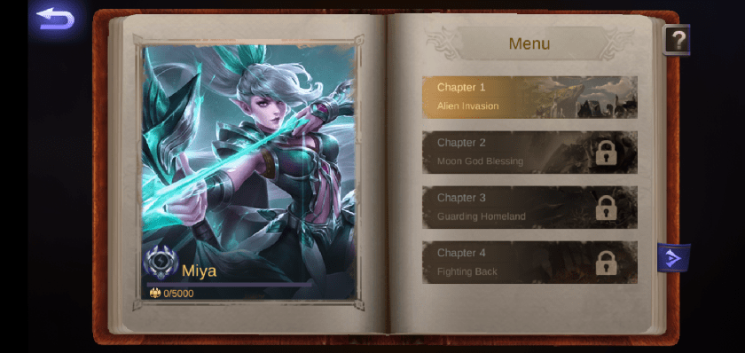 A screenshot from the game Mobile Legends, photo of the hero Miya and the chapter 1 of her story