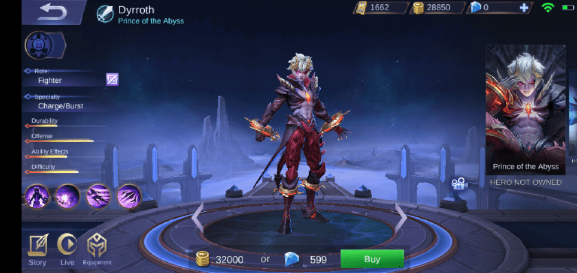 A screenshot from the game Mobile Legends, High Definition photo of the hero Dyrroth