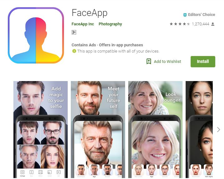 screenshot of FaceApp app from google play