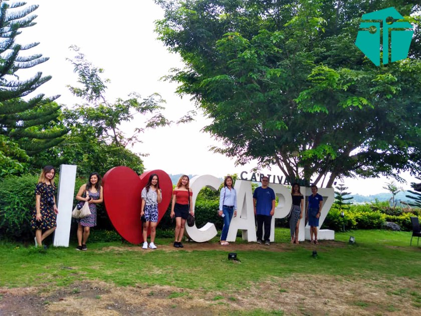A photo of our team with the Captivating I Heart Capiz mark. This was taken during our Capture Capiz and Iloilo Tour.