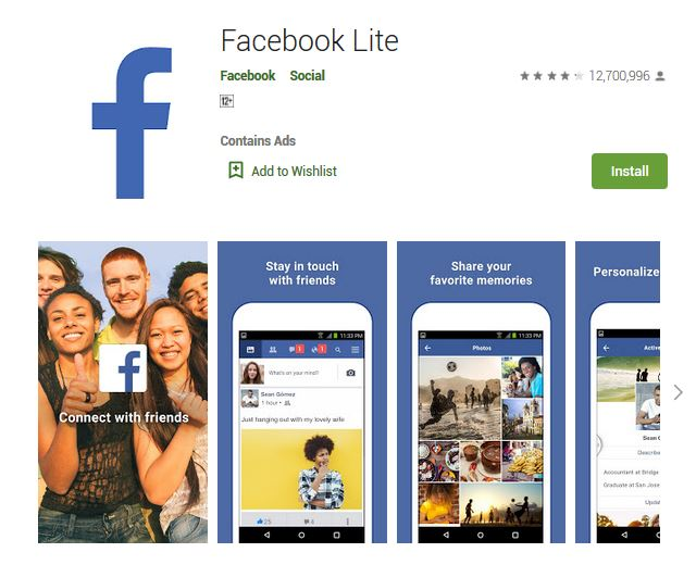 A screenshot photo of the mobile app Facebook Lite, one of the 50 Top Free Apps In Google Play
