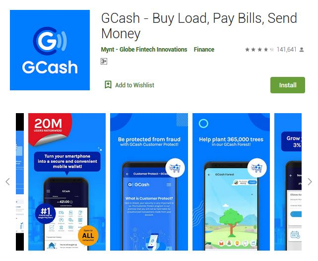 A screenshot photo of the mobile app GCash, one of the 50 Top Free Apps In Google Play
