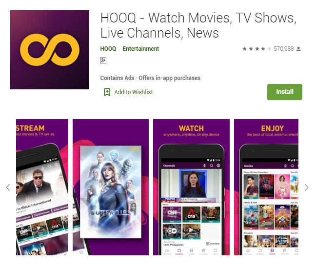 A screenshot photo of the mobile app HOOQ