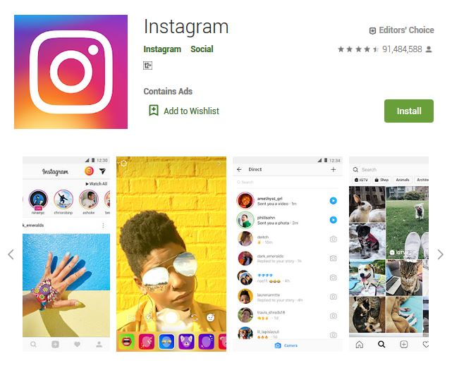 A screenshot photo of the mobile app Instagram, one of the 50 Top Free Apps In Google Play