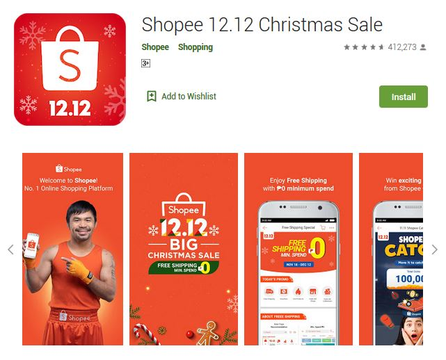 A screenshot photo of the mobile app Shopee, one of the 50 Top Free Apps In Google Play